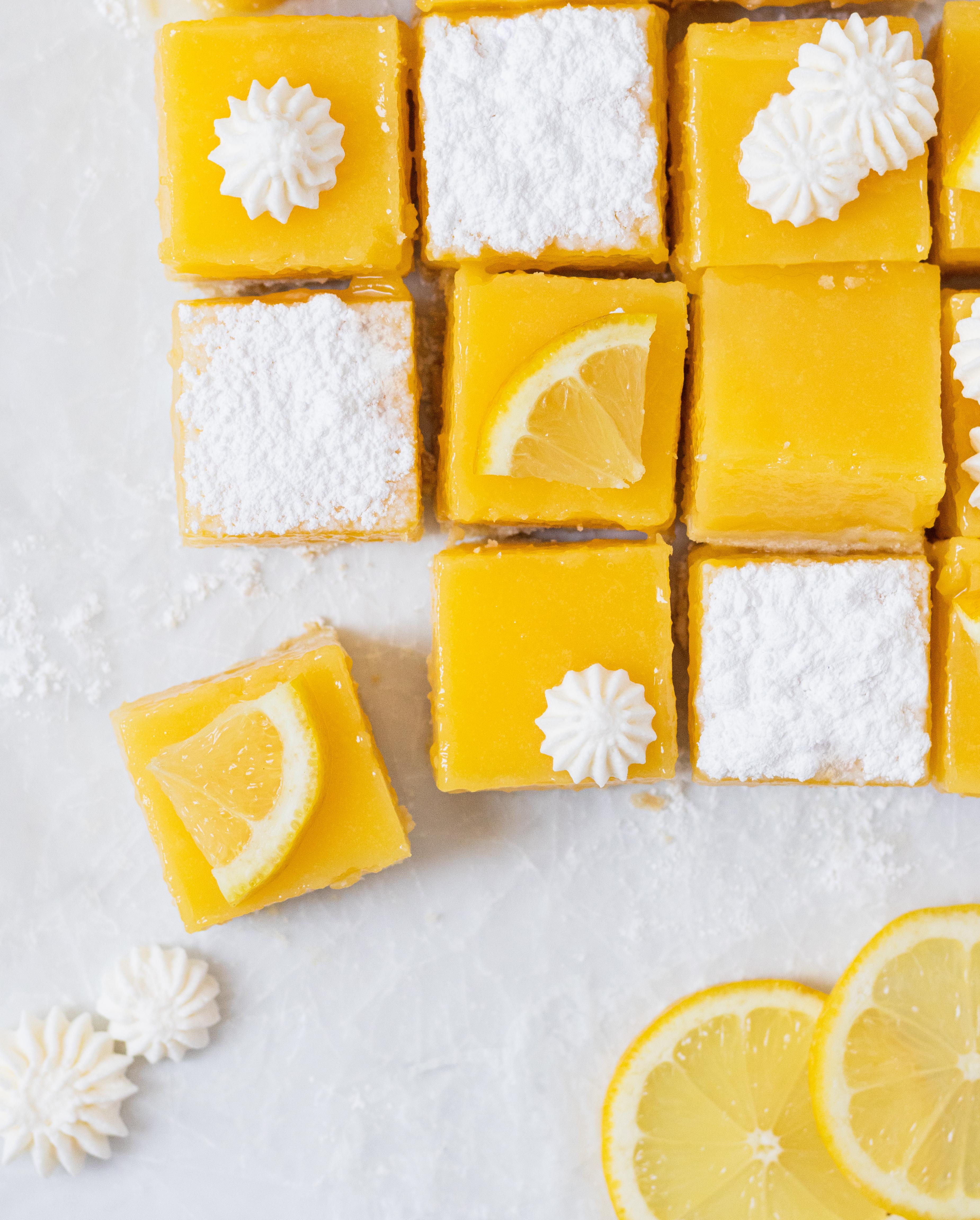 Flatlay of Lemon Bars